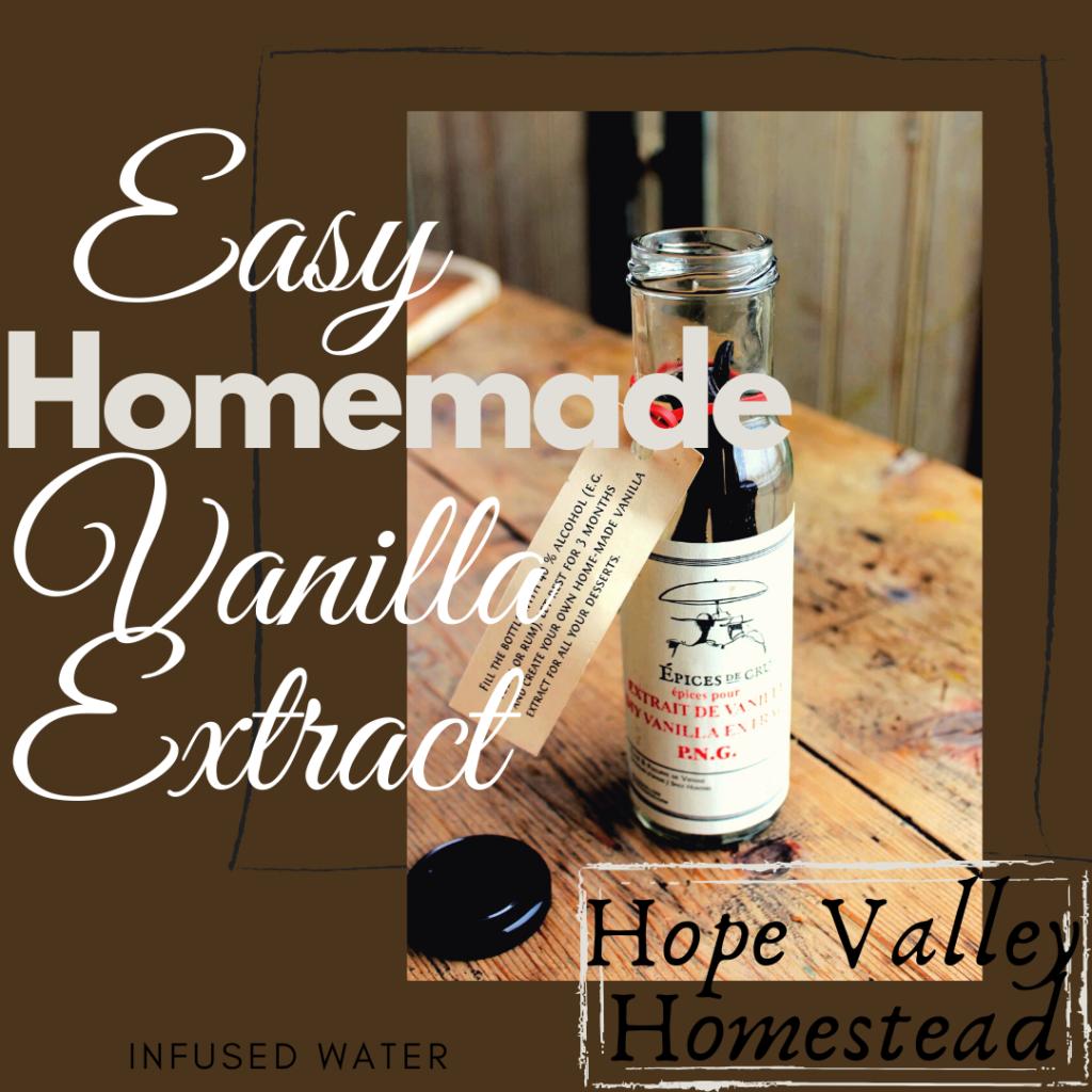 Easy Homemade Vanilla Extract  #vanillaextract #vanilla #homemade #bakedgoods #homesteadlife #farmhouse #farmlife #cupcakes #baking #hopevalleyhomestead