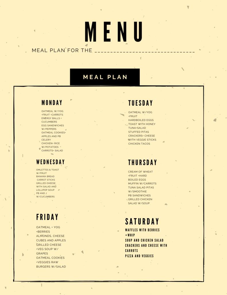 Menu Plan basic meal plan #mealplan #foodie #healthyfood #eatwell #planahead